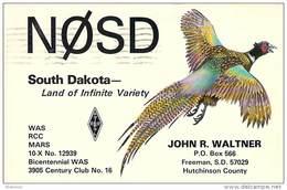 Amateur Radio QSL - N0SD - Freeman, SD -USA- 1977 - 2 Scans - Radio Amateur