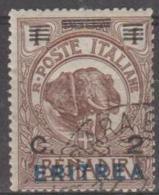 ERITREA - 1924 2c On 1b Elephant Surcharge. Scott 81. Used - Eritrea