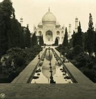 Inde Agra Taj Mahal Reflection Panorama Ancienne Stereo Photo Kurt Boeck 1906