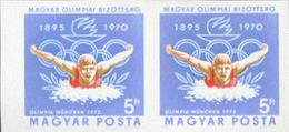 HUNGARY 1970 Swimming 5ft IMPERF.PAIR [non Dentelé,Geschnitten,no Dentado,non Dentellato,ogetande]