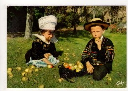CP 10*15-UP249-BRETAGNE COIFFES ET COSTUMES DE FETE BANNALEC  QUIMPERLE SCAER GUISCRIFF COUPLE ENFANTS 1971 POMMES - Bannalec