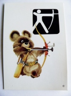 Post Card Sport Olympic Games Moscow 1980, Printed In Finland, Bear, Archery - Tir à L'Arc
