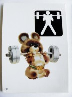 Post Card Sport Olympic Games Moscow 1980, Printed In Finland, Bear, Weightlifting - Pesistica