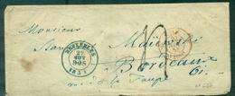BELGIQUE BRUXELLES En Bleu 22 NOV 1853 Pour Bordeaux (entrée En Rouge) - Belgium