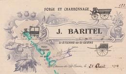 Facture 1911 BARITEL / Forge & Charronnage / Art Nouveau / 38 Saint Etienne De Saint Geoirs / Isère - Other