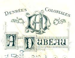 DUBEAU      Denrées Coloniales  AGEN (Correze)  Belle Typo ART NOUVEAU   1908 - Lettres De Change