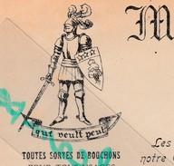 """Facture 1947 / Charles DUVICQ / Manufacture Bouchons / Devise """"Qui Veult Peut""""/ 40 Tosse Landes - France"""