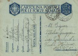 FRANCHIGIA WWII POSTA MILITARE 58 1941 TOBRUK LIBIA AEROPORTO 762 PM 3750 IUDICA - Militärpost (MP)