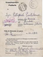 CARTOLINA POW CAMP STALAG IV-B MUHLBERG GERMANY 1944 X LIMBADI CATTURA - Correo Militar (PM)
