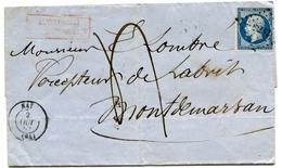 BASSES PYRENEES De NAY PC N°2232 Sur N°14 Sur LSC Du 2/10/1857+ Cachet Rouge Affranchissement Insuf ; + Taxe Plume De 4 - Marcophilie (Lettres)