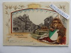Chemnitz, Theaterstraße, Löwe, Wappen, Gel. 1902 - Chemnitz