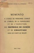 ANCIEN MÉMENTO MATÉRIELS DE CUISINE ET CHAUFFAGE De 1958 - Equipement