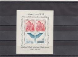 SUISSE. BLOC AARAU 1938. TRACE DE CHARNIERE