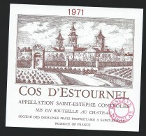Etiquette Vin  Cos D'Estournel  Saint Estephe   1971   Reserve Nicolas - Bordeaux