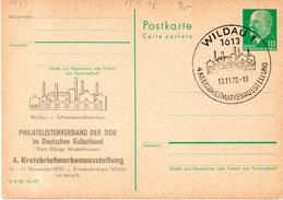 """DDR Amtl.Ganzsachen M. Priv. Zudruck """"Walter Ulbricht, 10Pf.grün"""" P75/ C28,m.anlaßbez. SSt. 13.11.70 WILDAU 1 - Cartes Postales - Oblitérées"""