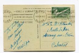 Carte Postale De VICHY (allier) De 1924 Avec Timbre Y&T N°183 (J.O De PARIS)