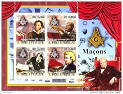 S. TOME & PRINCIPE 2008 - W. Churchill, Famous Masons - YT 2824-7, Mi 3685-8, Sc 1908