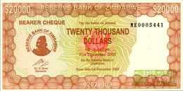 ZIMBABWE BEARER  CHEQUE 20000 DOLLARDS Du 1-12-2003  Pick 23e  UNC/NEUF - Zimbabwe