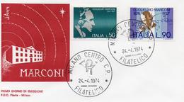 Ref. 8 - Fdc Flavia - Centenario Della Nascita Di Guglielmo Marconi - Serie Numerata 1035 - 24.4.1974 - 6. 1946-.. Repubblica