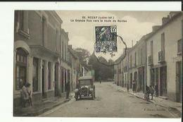 Nozay  44    La Grande Rue  Vers La Route De Nantes Animée Café Epicerie Et Voiture - France