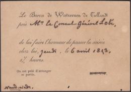 POS-885 CUBA 1843. INVITATION TO THE AMBASSADOR OF HOLLAND IN HAVANA INVITACION AL EMBAJADOR DE HOLANDA EN LA HABANA. - Cuba