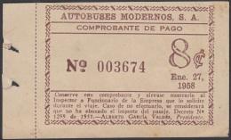 POS-883 CUBA 1958. TICKET AUTOBUS. AUTOBUSES MODERNOS SA. - Cuba