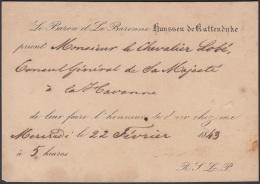 POS-884 CUBA 1843. INVITATION TO THE AMBASSADOR OF HOLLAND IN HAVANA INVITACION AL EMBAJADOR DE HOLANDA EN LA HABANA. - Cuba