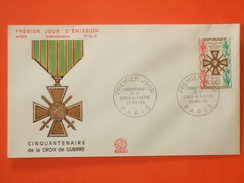 FRANCE 1er Jour 1965 - N°1452 Croix De Guerre Sur Enveloppe.  Superbe
