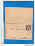 PNEUMATIQUE- Entier Postal-carte Télégramme Neuve***** Avec Réponse -30c -chaplain N°B14 Cote 60 Eu