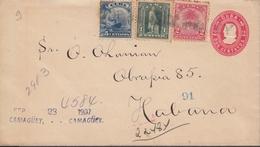 1903-EP-52 CUBA REPUBLICA 1903. 2c REGISTERED POSTAL STATIONERY 1907 CAMAGUEY TO HABANA. TRICOLOR. - Cuba
