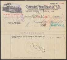 E5267 CUBA. 1956. FACTURA COMPAÑIA DE RON BACARDI. - Cheques & Traveler's Cheques