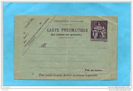 PNEUMATIQUE- Entier Postal Carte Lettre  Pneu  Neuve***bordure Non Collée-1 Fr Chaplain   N°M1  Cote 30 Eu