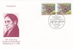 Germany FDC 1988 Joseph Von Eichendorff (T15-35) - [7] República Federal