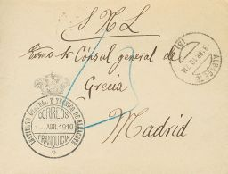 SIGLO XX. Alfonso XIII. Medallón. SOBRE 1910. ALBACETE A MADRID. Marca De Franquicia INSTITUTO GENERAL Y TECNICO - Spanje