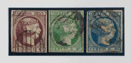 ISABEL II. Isabel II. 1 De Enero De 1853. º 18, 20, 21 12 Cuartos Violeta, 5 Reales Verde Y 6 Reales Azul. MAGNIFIC - Spanje