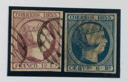 ISABEL II. Isabel II. 1 De Enero De 1853. º 18, 21 12 Cuartos Violeta Y 6 Reales Azul. Colores Intensos. MAGNIFICO. - Spanje