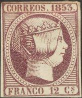 ISABEL II. Isabel II. 1 De Enero De 1853. * MH 18 12 Cuartos Violeta. Excepcional Color. MAGNIFICO. Cert. GRAUS. (Edifil - Spanje