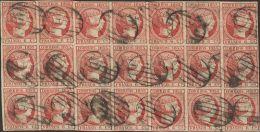 ISABEL II. Isabel II. 1 De Enero De 1853. º 17(21) 6 Cuartos Rosa, Bloque De Veintiuno. MAGNIFICO Y RARO BLOQUE EN - Spanje