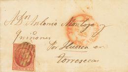 ISABEL II. Isabel II. 1 De Enero De 1853. SOBRE 17 1853. 6 Cuartos Rosa. JACA A TORRES SECAS (HUESCA). En El Frente Baez - Spanje