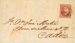 ISABEL II. Isabel II. 1 De Enero De 1853. SOBRE 17 1853. 6 Cuartos Rosa. MADRID A CADIZ. En El Frente Baeza 1-ENº-. - Spanje