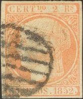 ISABEL II. Isabel II. 1 De Enero De 1852. º 14 2 Reales Naranja. Enormes Márgenes Y Color Intenso. MAGNIFICO - Spanje