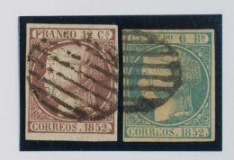 ISABEL II. Isabel II. 1 De Enero De 1852. º 13, 16 12 Cuartos Violeta Y 6 Reales Azul. MAGNIFICOS. (los Dos Sellos - Spanje