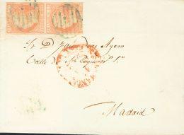 ISABEL II. Isabel II. 1 De Enero De 1852. SOBRE 12(2) 1852. 6 Cuartos Rosa, Pareja. SALAMANCA A MADRID. Matasello PARRIL - Spanje