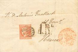 """ISABEL II. Isabel II. 1 De Enero De 1852. SOBRE 12 1852. 6 Cuartos Rosa. BARCELONA A HUESCA. En El Frente Porteo """"1 R"""", - Spanje"""