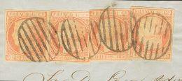 ISABEL II. Isabel II. 1 De Enero De 1852. Fragmento 12(4) 6 Cuartos Rosa, Cuatro Sellos Sobre Fragmento. Matasello PARRI - Spanje