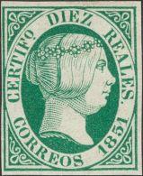 ISABEL II. Isabel II. 1 De Enero De 1851. * MH 11 10 Reales Verde (regular Estado De Conservación). Excelente Col - Spanje