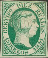ISABEL II. Isabel II. 1 De Enero De 1851. * MH 11 10 Reales Verde. MAGNIFICO. Cert. CEM. (Edifil 2017: 4025€) - Spanje