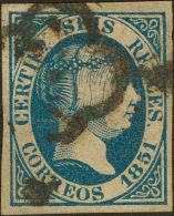 ISABEL II. Isabel II. 1 De Enero De 1851. º 10 6 Reales Azul Intenso. MAGNIFICO. (Edifil 2017: 1475€) - Spanje