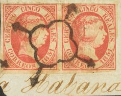 ISABEL II. Isabel II. 1 De Enero De 1851. Fragmento 9(2) 5 Reales Rosa, Pareja Sobre Fragmento, Perteneciente A Un Regis - Spanje