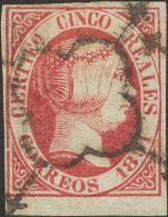 ISABEL II. Isabel II. 1 De Enero De 1851. º 9 5 Reales Rosa, Borde De Hoja. MAGNIFICO. Cert. CEM. (Edifil 2017: 375 - Spanje